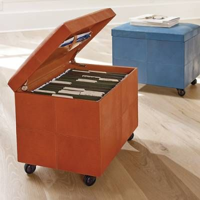 Store Your Files Beautifully In Any Room Concealed In The Faux Lizard  Mobile File Ottoman.