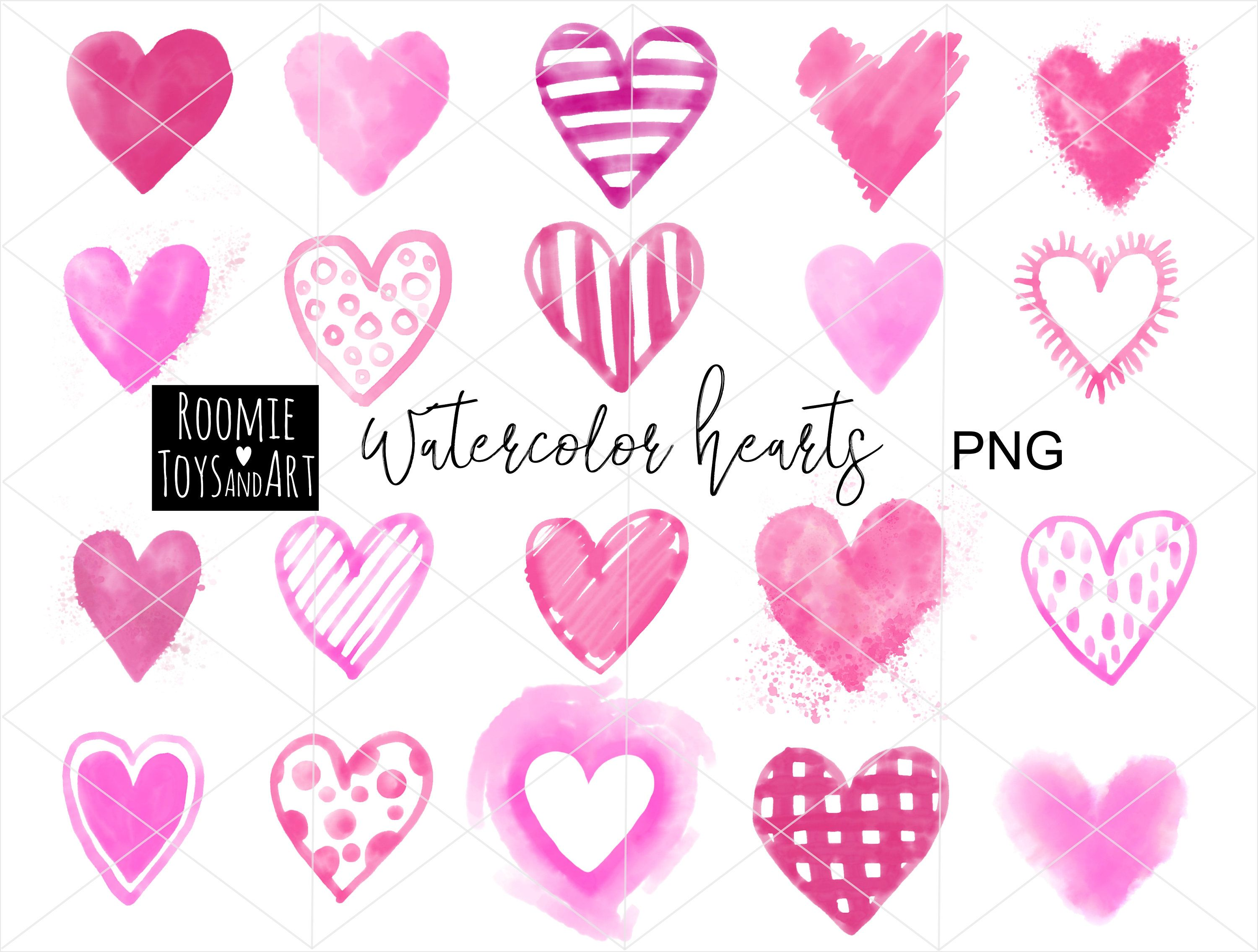 20 Watercolor Heart Png Watercolor Valentine Pink Hearts Png Etsy