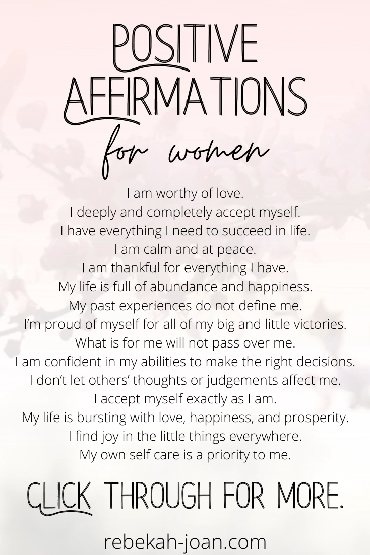 30 Daily Positive Affirmations for Self Esteem, Mo