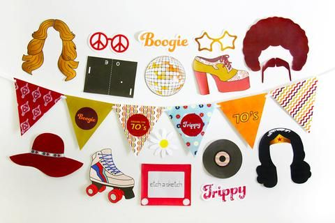 70s Party Printable, Photo Booth Props | INSTANT DOWNLOAD
