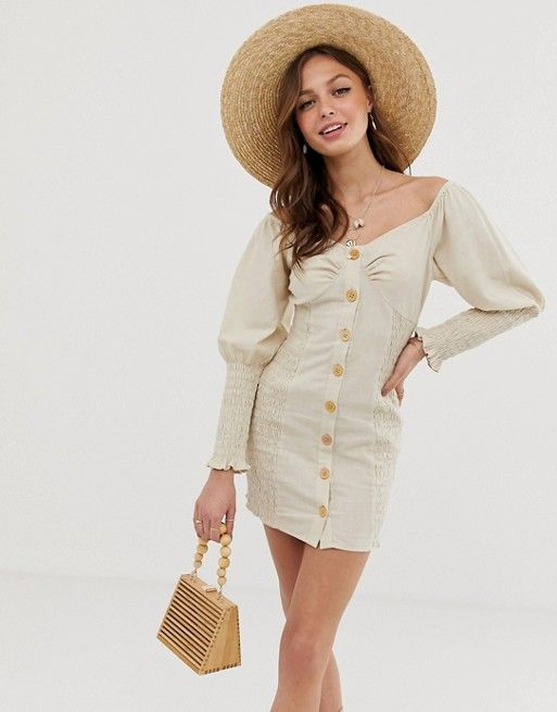 3573866f83c DESIGN button through shirred linen mini dress in 2019