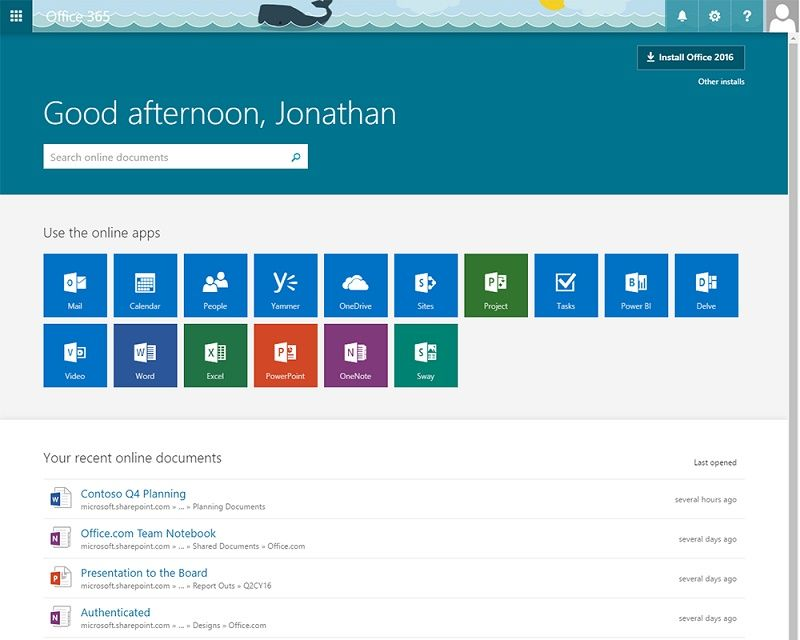 Microsoft Introduces Office 365 Home Page