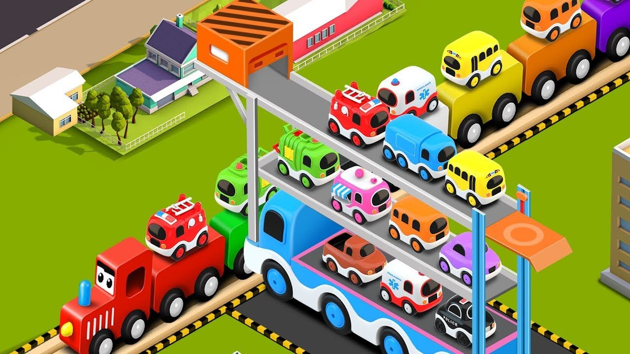 Learn Colors with Preschool Toy Train and Truck Transporter Street ...