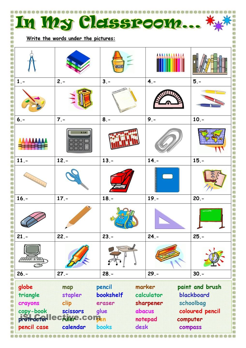 In my classroom Spanish I classroom objects – Classroom Objects in Spanish Worksheet