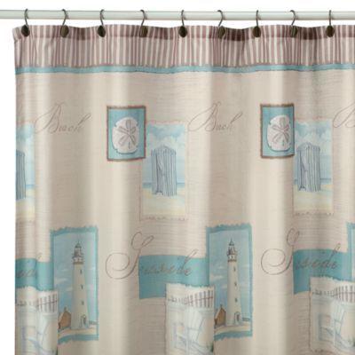 Superior Coastal Collage Fabric Shower Curtain