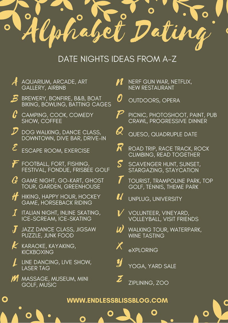 Alphabet Dating Date Night Ideas From AZ r o m a n t i