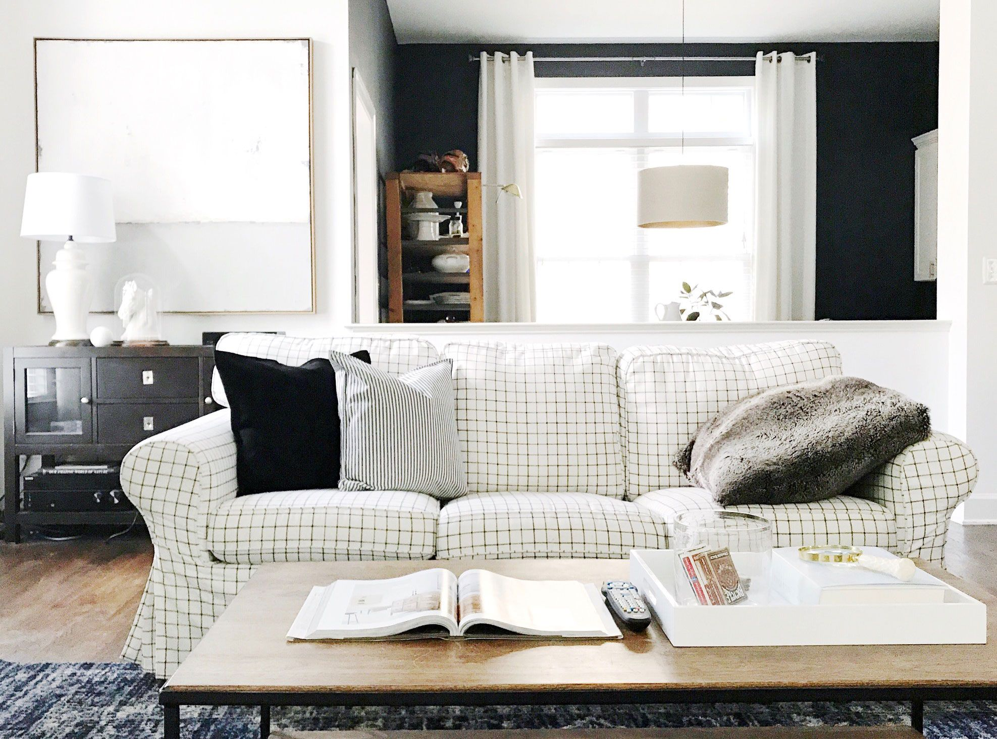 Interior blogger Olive and Ford\'s stunning black and white living ...