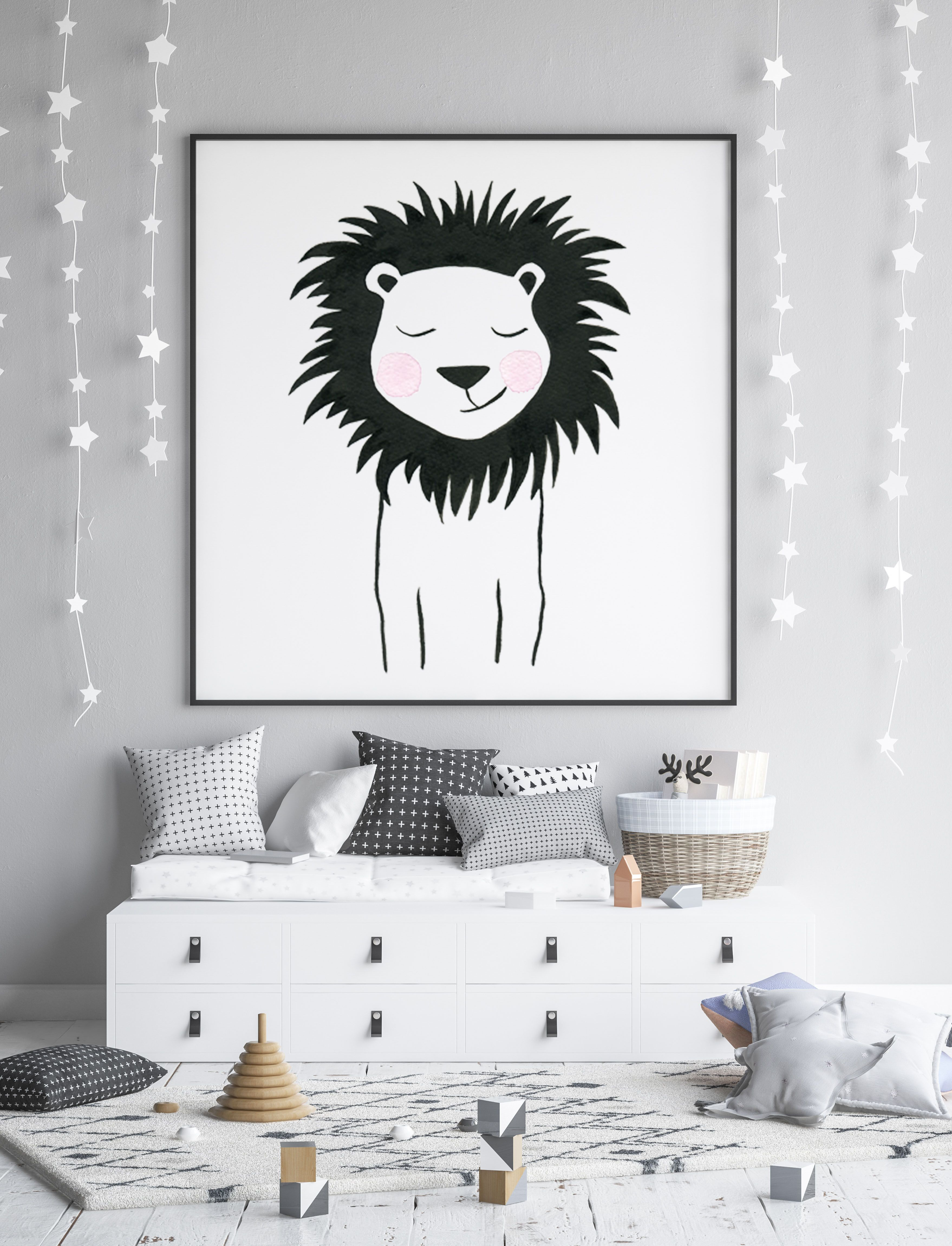 Lion Nursery Wall Art Print Baby Room Decor Original Watercolor Painting Black And White Animal Poster Animal Pictures Set Baby Room Art Baby Wall Art Animal Wall Art Prints