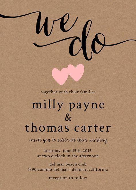Rustikale Hochzeitseinladung Kraft Papier Hochzeit von paperhive