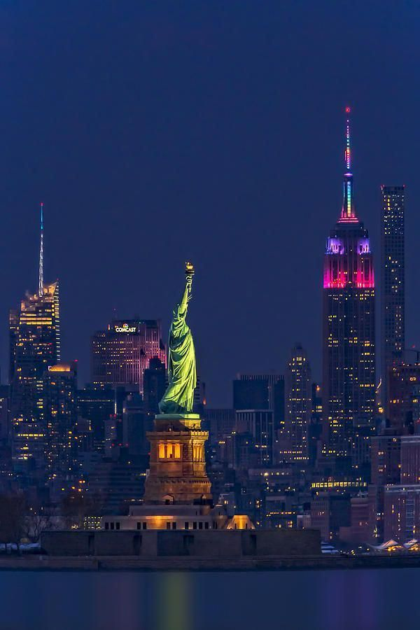 Empire State And Statue Of Liberty II by Susan Candelario #newyorkcity