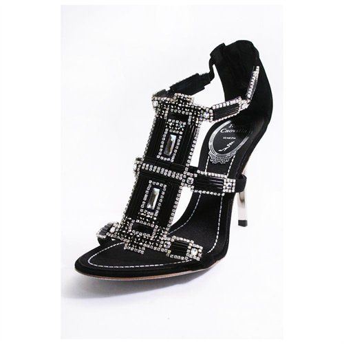 Rene Caovilla Womens Black Jeweled Wendy Suede Strappy Sandals
