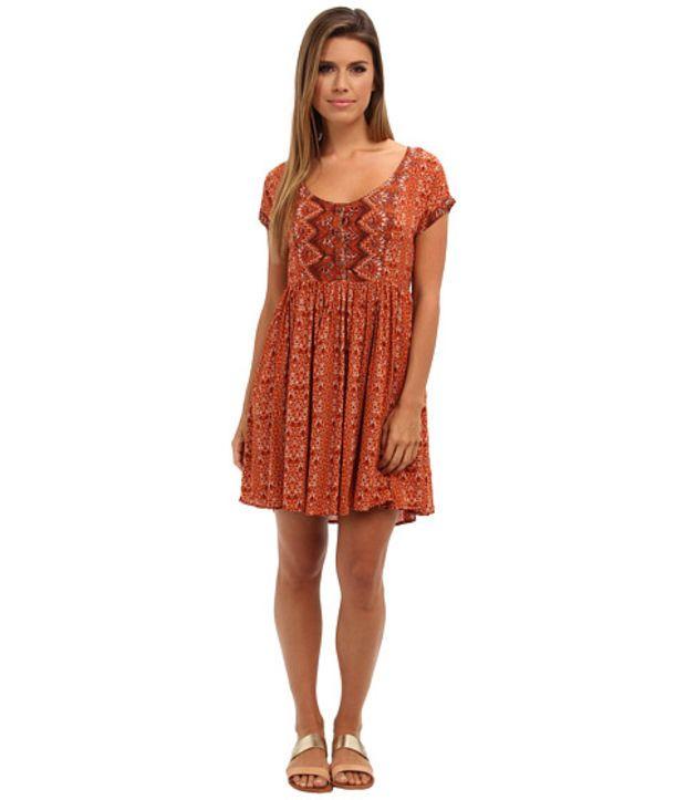 dde5d6d07783 Free People Sundown Babydoll Dress Orange Combo - 6pm.com
