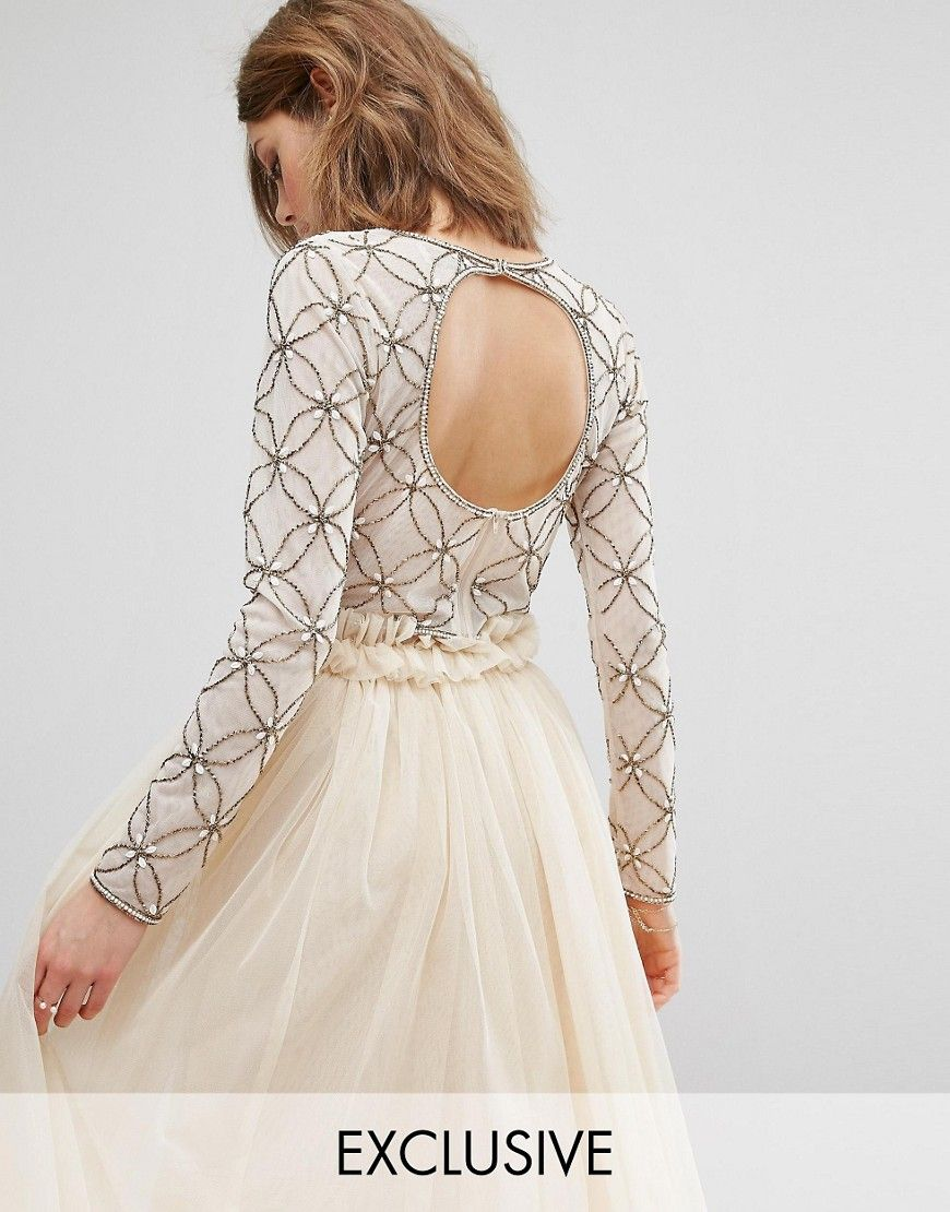 8265d4ed15 Lace   Beads Long Sleeved Crop Top with Open Back - Pink. Top by Lace Beads