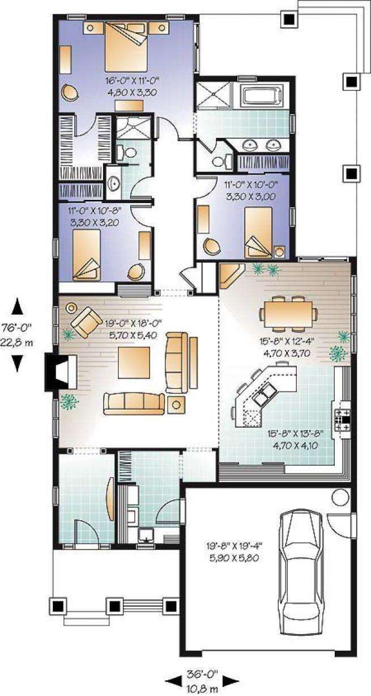 Favorit W3241-V1 - Plan de Maison américaine, garage double, 3 chambres  XX58