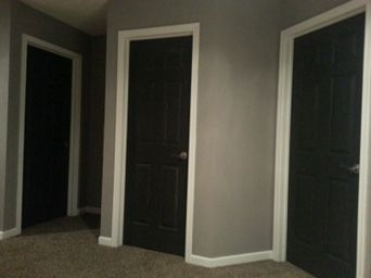 Upstairs Interior Of Our Home Black Doors White Trim Grey Walls Great Color Scheme House