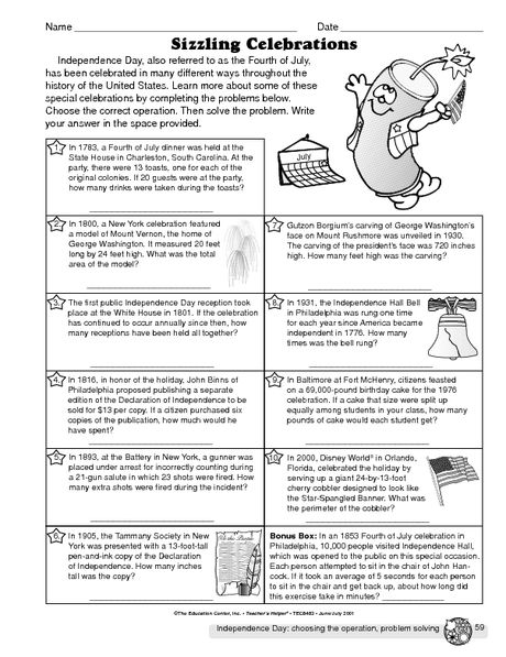 Independence Day Worksheet Choosing The Operation The Mailbox Worksheets Fun Math Worksheets Math Worksheets