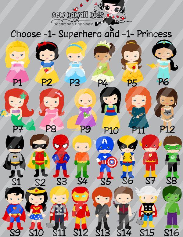 superhero and princess birthday invitation by