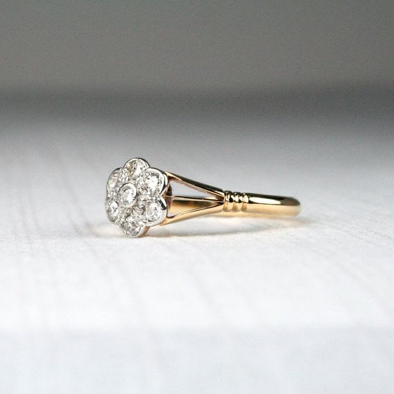 Edwardian Daisy Cluster Diamond Ring 568 25 Vintage Engagement