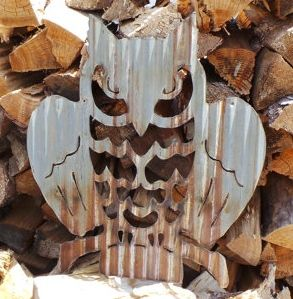 Corrugated Metal Owl