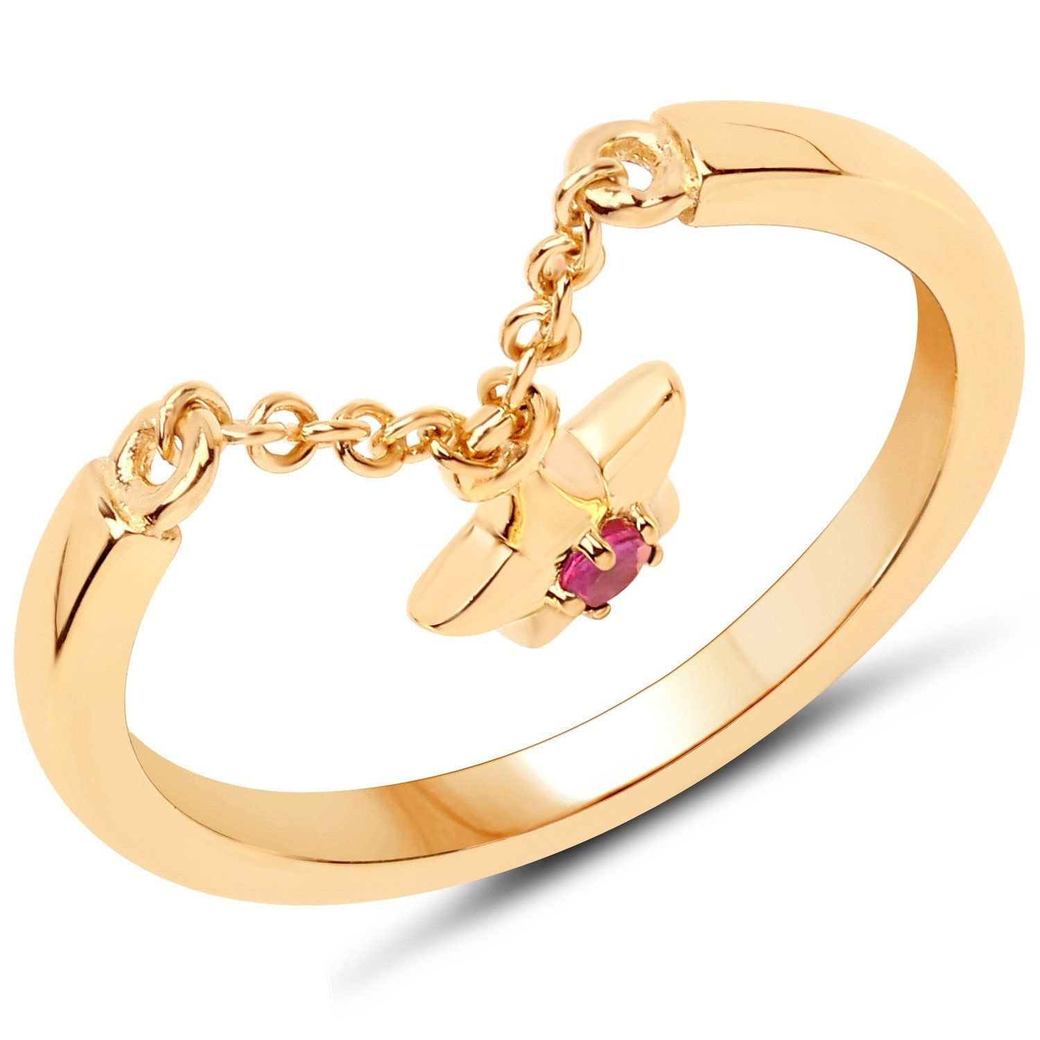 LoveHuang 0.05 Carats Genuine Ruby Star Droplet Ring Solid