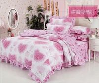 2013 Free Shipping Sweet Cotton Pink Flouncing Heart-Shaped Rose Printed 3/4pcs Bedding Set/Duvet Cover/ Bed Skirt/ Pillowcase