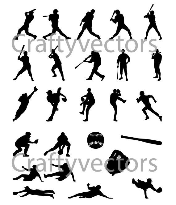 Baseball Silhouettes vector SVG cut file by CraftyVectors