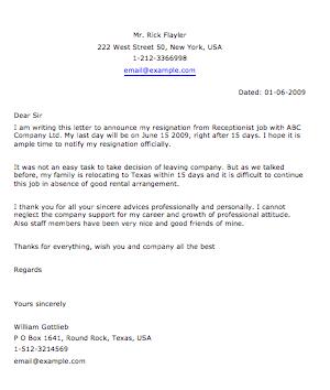 Receiptionist Resignation Letter  Grammar Police