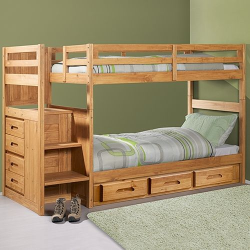 Discovery World Furniture Espresso Twin Over Full Mission Bunk Bed