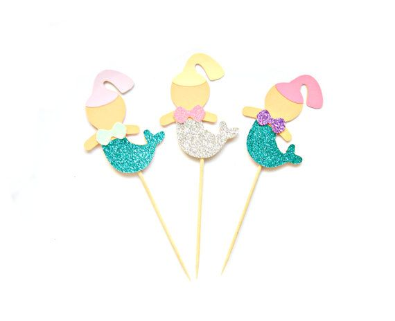 Hey, I found this really awesome Etsy listing at https://www.etsy.com/listing/212001859/glitter-mermaid-cupcake-toppers-1st