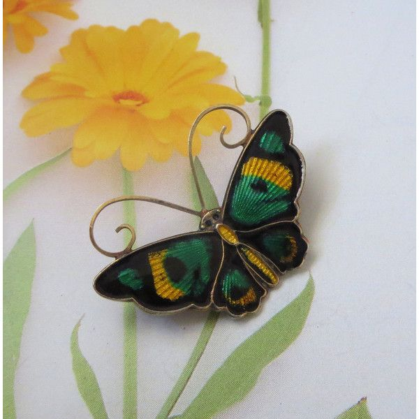 Art Deco Butterfly Pin, David-Andersen, Vintage Norway Sterling, Green... (€66) ❤ liked on Polyvore featuring jewelry, brooches, vintage jewelry, vintage enamel brooch, enamel butterfly brooch, vintage butterfly brooch, vintage pins brooches and pin brooch