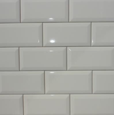 Biscuit Bright Beveled Subway Tile 3x6