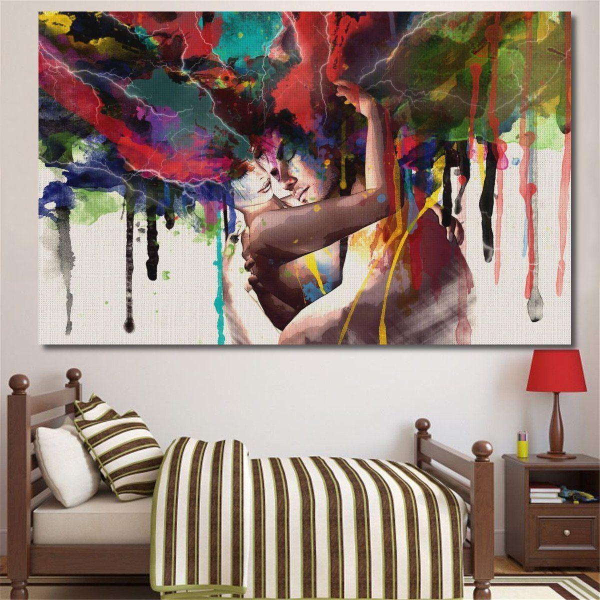 Romantic Couple Abstract Oil Paint Reprint On Framed Canvas Wall Art Decoration