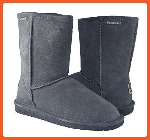 BEARPAW Women's Emma Short Shearling Boots 608 W Charcoal (7