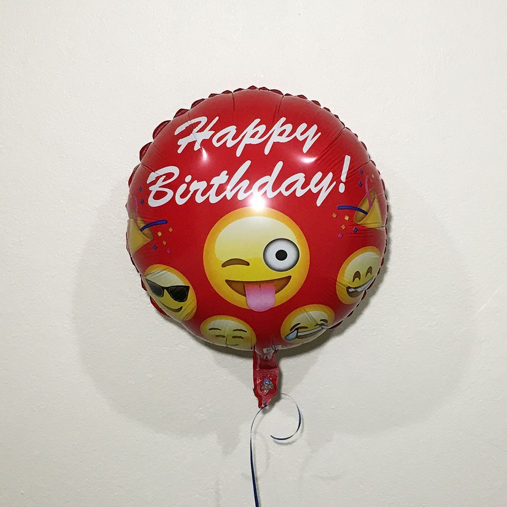 Emoji 18 Red Happy Birthday Helium Balloon