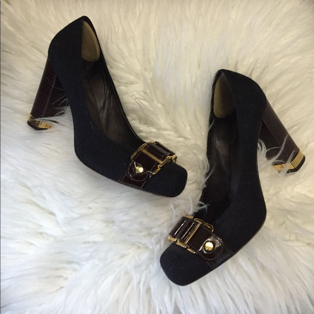 Tory Burch Black Tweed, Gold/Brown Buckle Heels