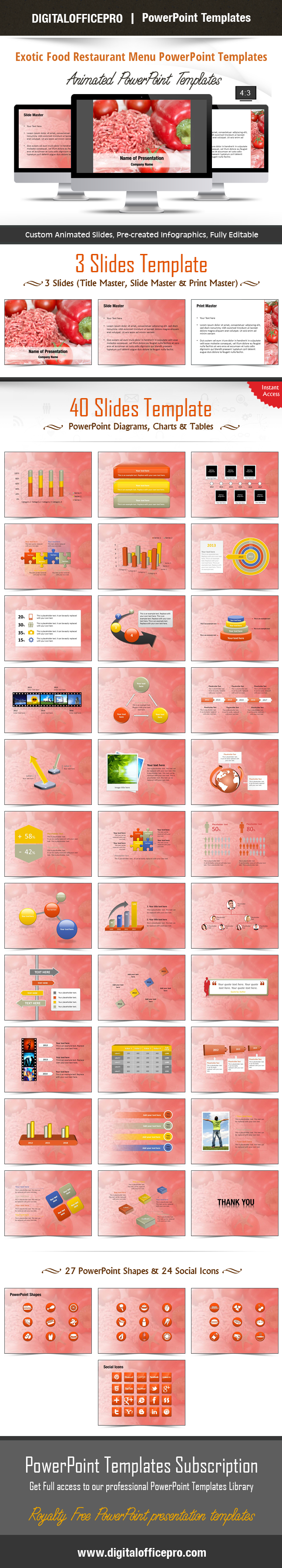 Exotic Food Restaurant Menu Powerpoint Template Backgrounds