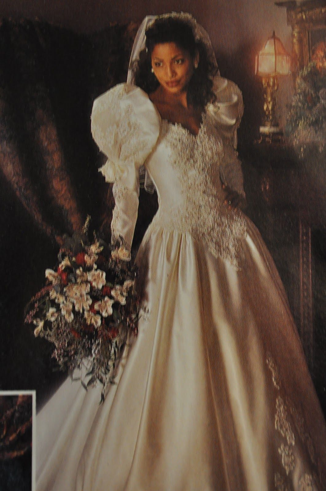 80's wedding gowns | Look at her Puffy sleeves! This wedding dress ...