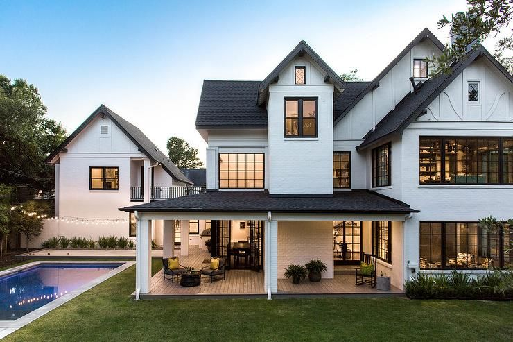 Transitional Exterior Home Design Features A White House With