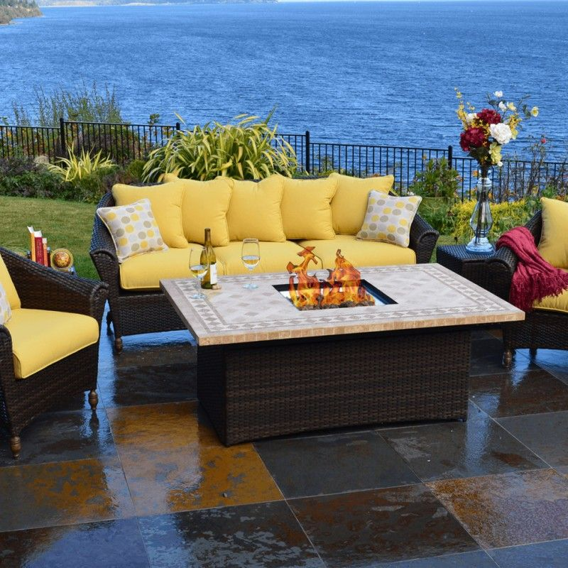 Captivating Patio Furniture Seattle Rattan Chairs And Table Yellow Cushion Fire Place  On Table Flower Vase Of