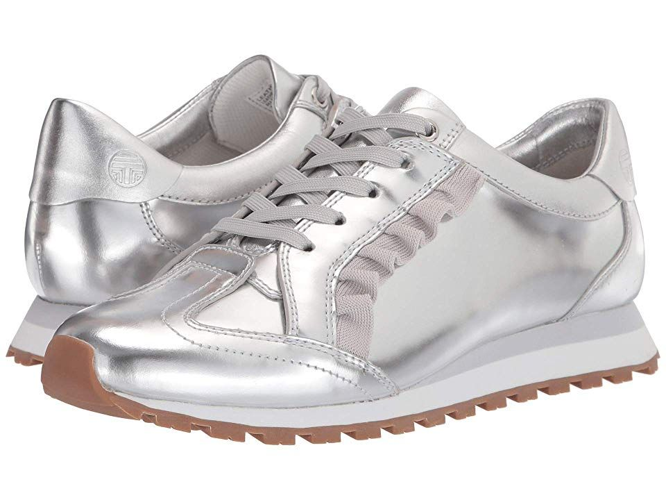 8c5a78cbfbdb31 Tory Sport Ruffle Trainer (Silver Gray Gray) Women s Shoes. Give your