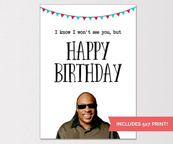 Stevie Wonder Birthday Card Funny Birthday Card Rude Humor Clare\u0027s
