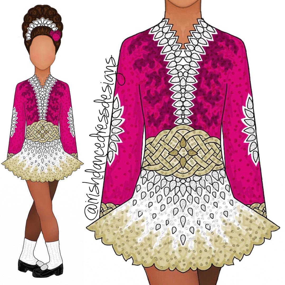 Design 691 Dark Pink White And Gold For Burke Cj Irish Dancing Dresses Irish Dance Dress Designs Dress Sketches