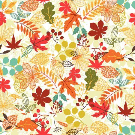 Бесшовные векторные модели с стилизованные осень листья ...