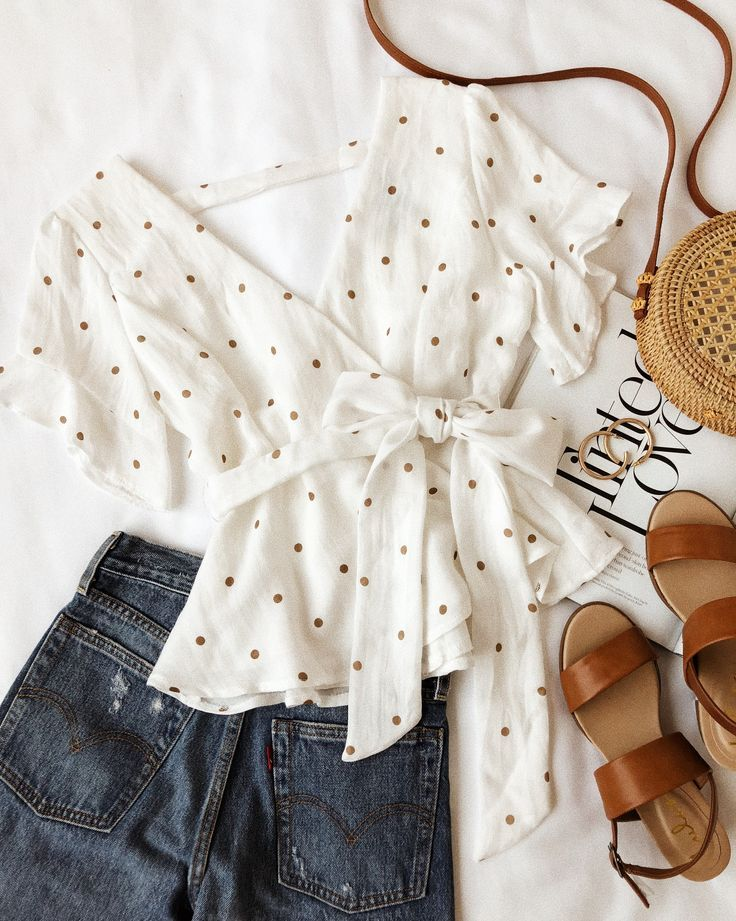 Artemis White and Tan Polka Dot Peplum Top