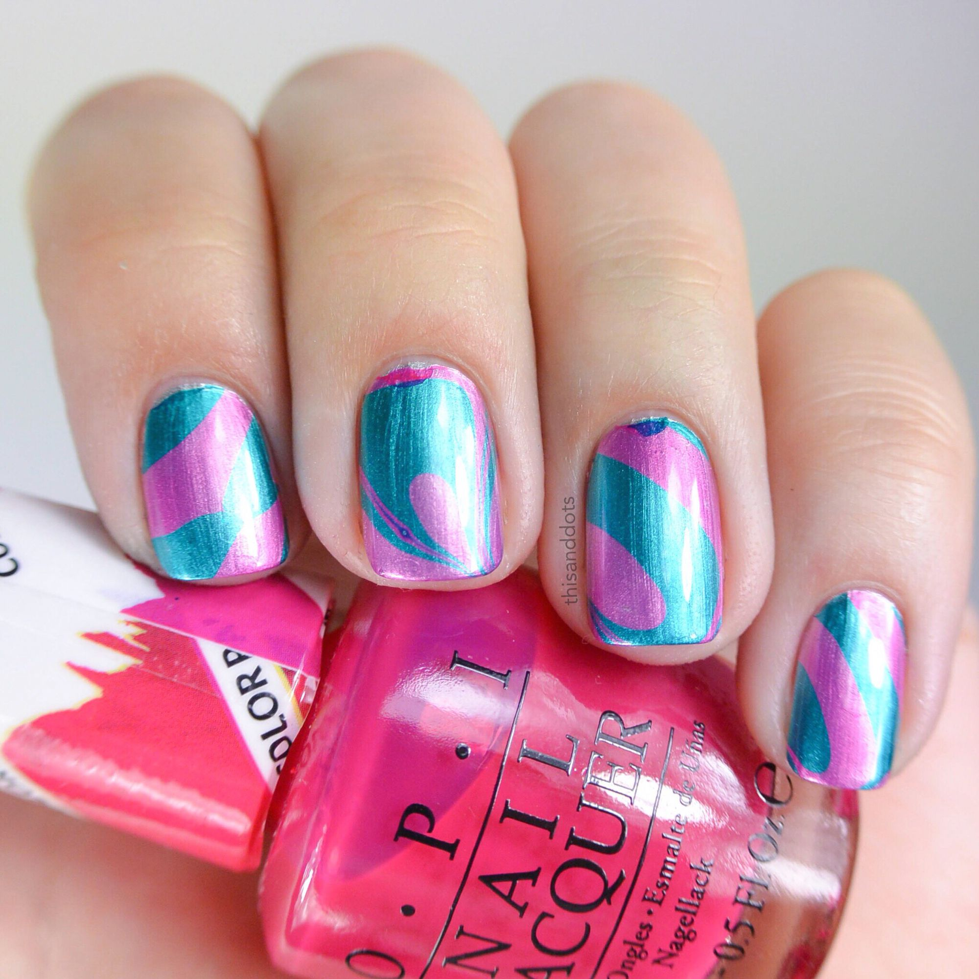 OPI - Pen & Pink - Turquoise Aesthetic over Silver Canvas