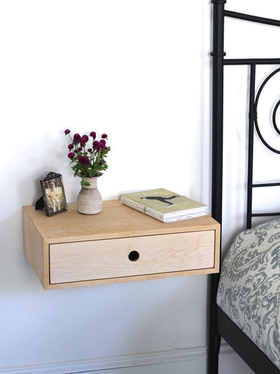 Floating Modern Nightstand with Drawer / Mid Century Modern Bedside ...
