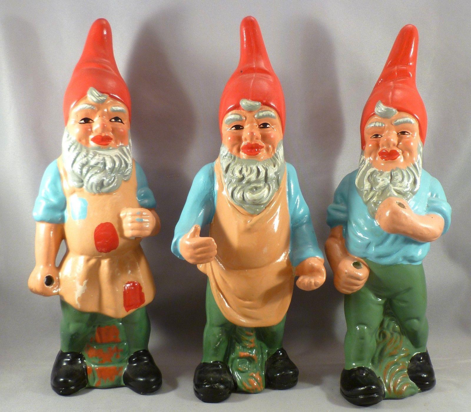 Set Of 3 Vintage Plaster Garden Gnomes 10 High Nasco Made In Japan Ebay Gnomes Gnome Garden Vintage