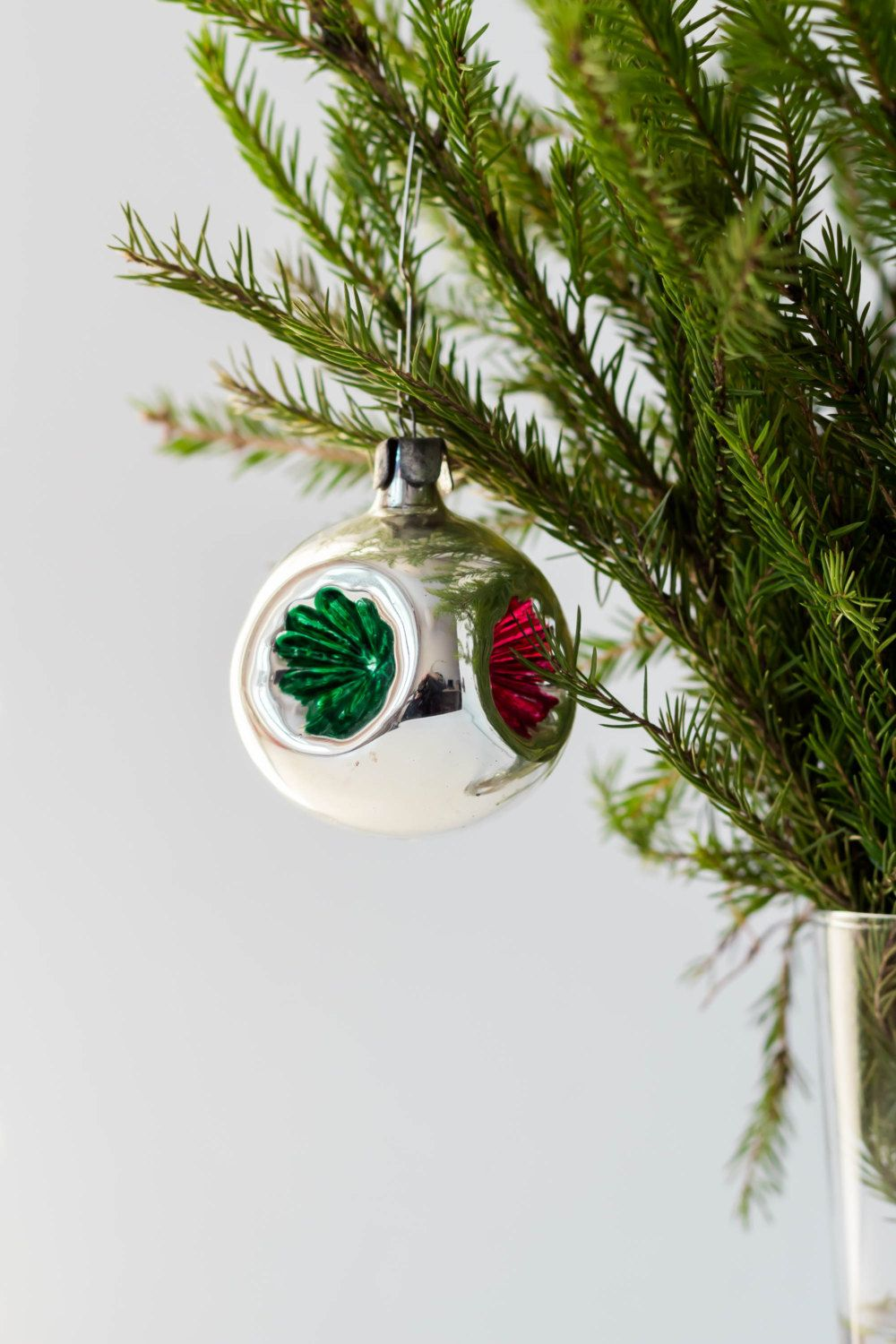 Mercury Balls Decorations Vintage Christmas Ball In Silver With Red And Green Christmas