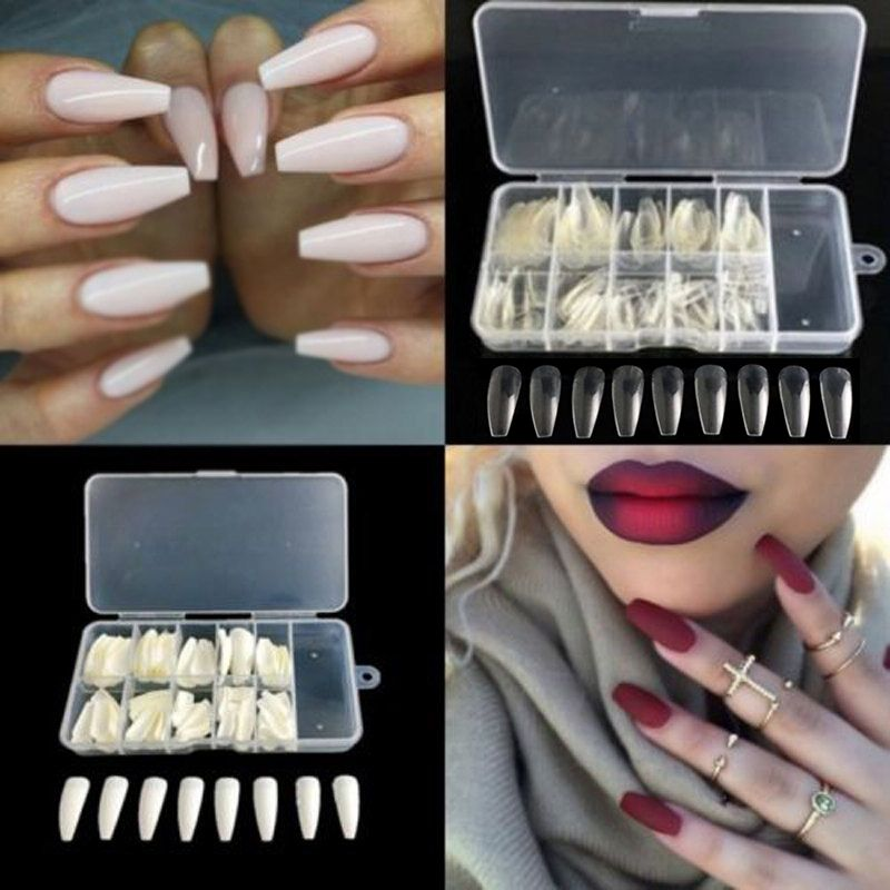 600pcs Trendy Long Ballerina Nails 3 Colors Coffin Shape Artificial ...