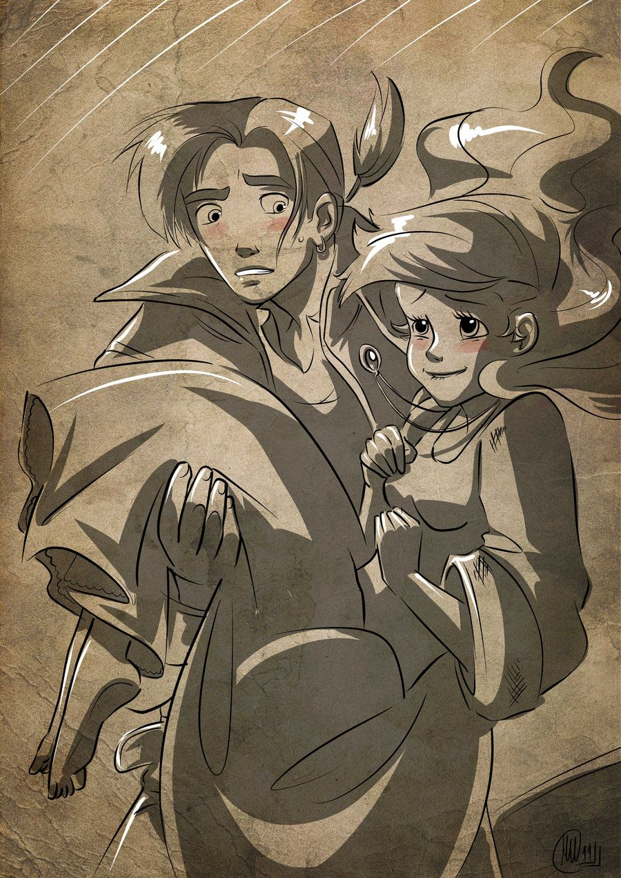 Jim hawkins x ariel commission by mistiqartsviantart on